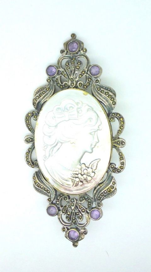 Sterling Silver Hallmarked 925 Marcasite Abalone Cameo Brooch with Real Amethyst